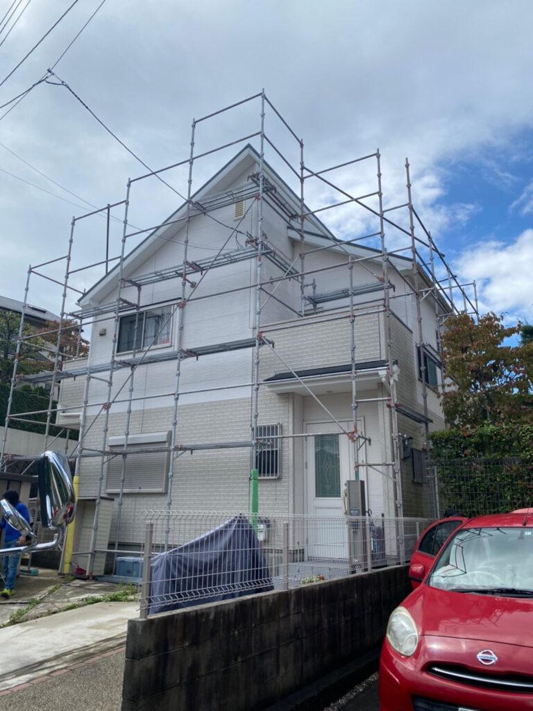 大阪府泉南市 一戸建て住宅の塗装用の足場組立